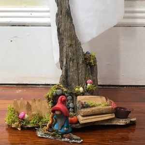 Antique train track wood gnome home and gnome
